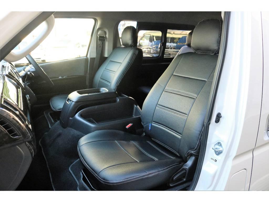 フィッティングのいいレザー調シートカバー装着してあります!!!!! | トヨタ ハイエース 2.7 GL ロング ミドルルーフ 4WD TSS付