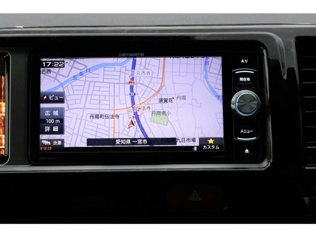 カロッツェリアSDナビ・フルセグTV・Bluetooth接続可能!!! | トヨタ ハイエース 2.7 GL ロング ミドルルーフ 4WD TSS付