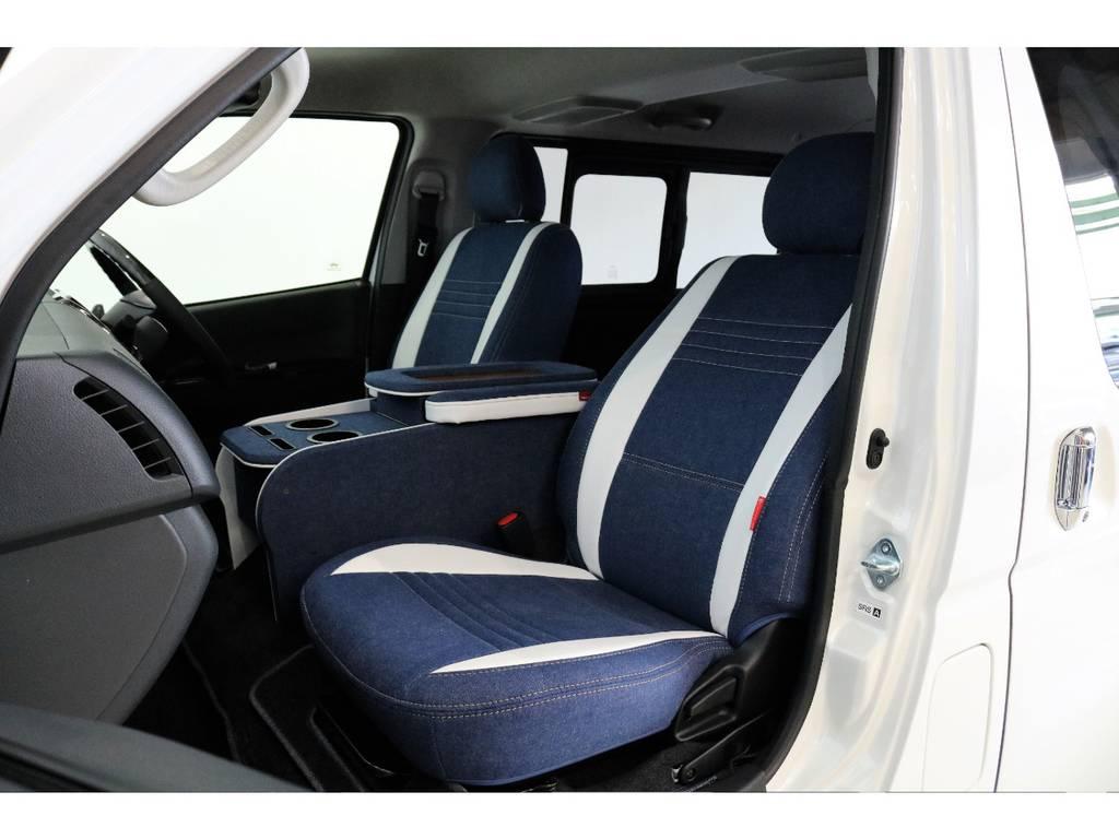 フィッチングの良いデニム調シートカバーです!!!!   トヨタ ハイエースバン 2.0 スーパーGL ダークプライム ロングボディ PS無