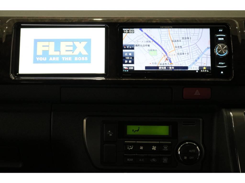 カロッツェリア製SDナビ、サブモニターを搭載!ナビ横のデットスペースも有効活用しております! | トヨタ ハイエースバン 2.7 スーパーGL 50THアニバーサリー リミテッド ワイド ミドルルーフ ロングボディ4WD 50TH 4X7