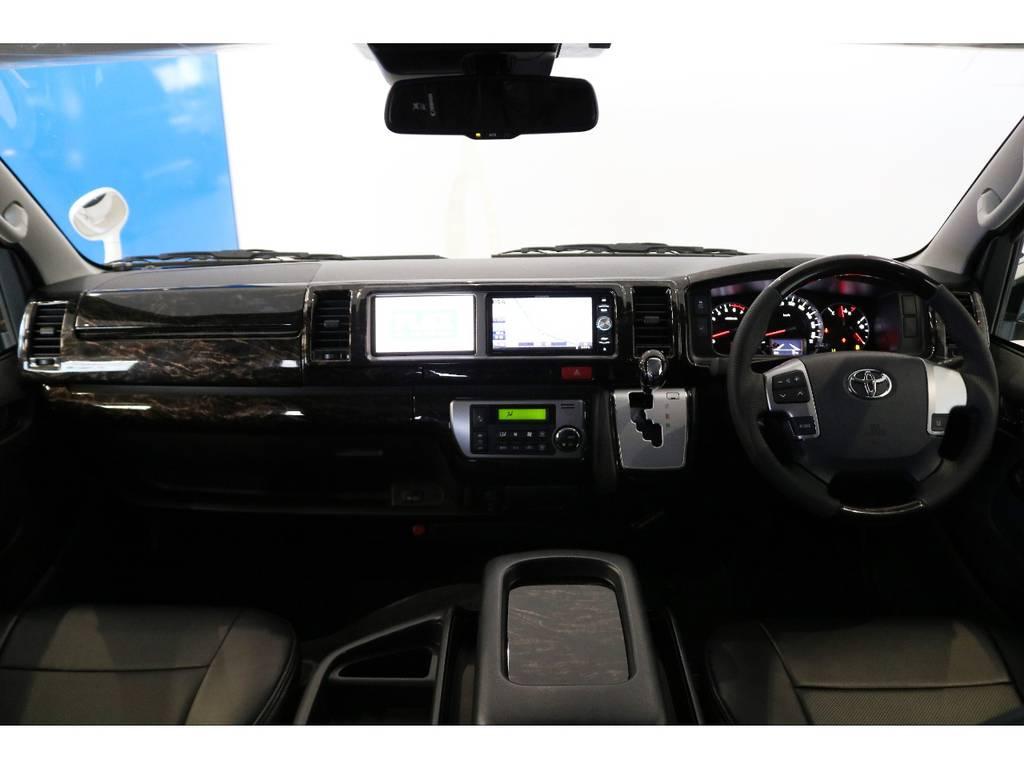 内装パネル(マホガニー黒木目)&コンビハンドル&シフトノブ   トヨタ ハイエース 2.7 GL ロング ミドルルーフ 4WD R1