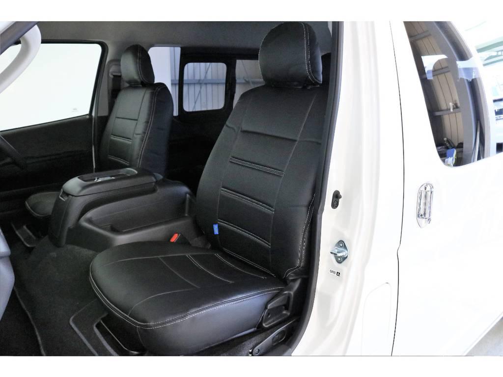 FLEXオリジナルブラックレザー調シートカバーを全席装着済み! | トヨタ ハイエース 2.7 GL ロング ミドルルーフ Vre1