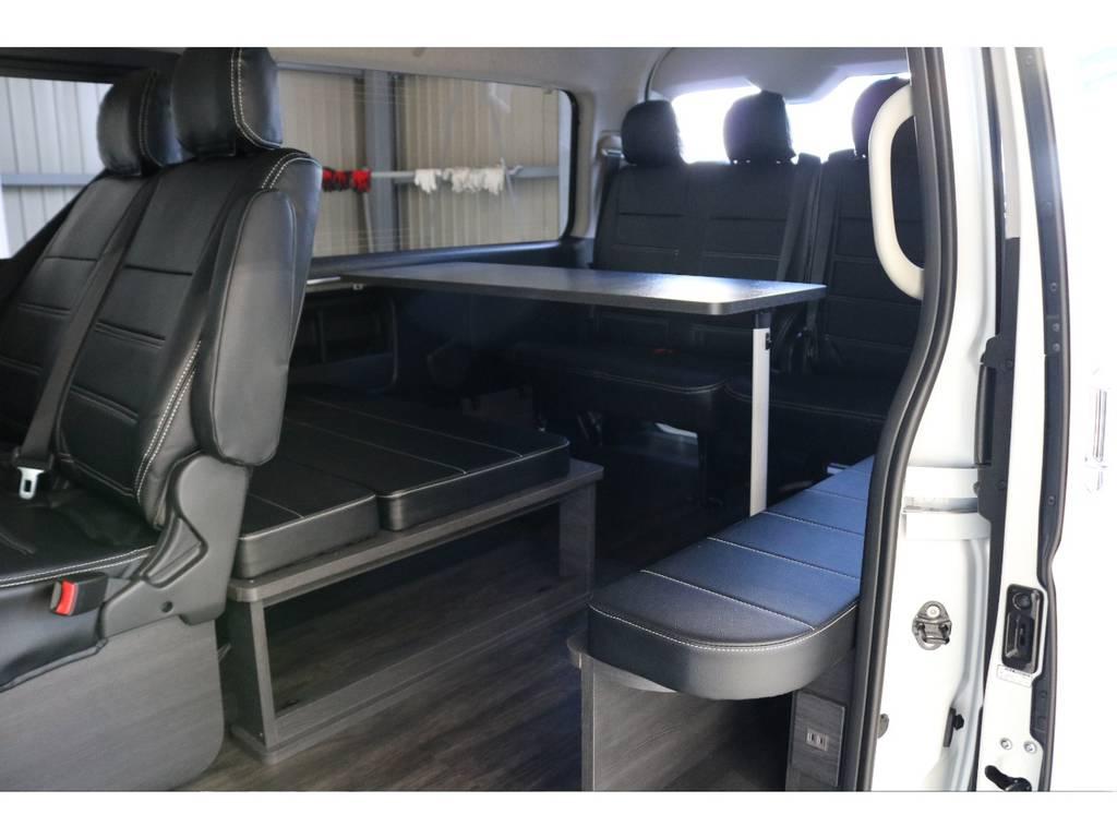 オプションテーブルもありますので飲み物や食べ物などを置けます!!!!!!!!!! | トヨタ ハイエース 2.7 GL ロング ミドルルーフ Vre1