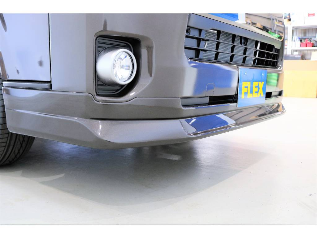 FLEXオリジナルフロントリップスポイラー装着? | トヨタ ハイエースバン 2.8 スーパーGL 50TH アニバーサリー リミテッド ロングボディ ディーゼルターボ 4WD