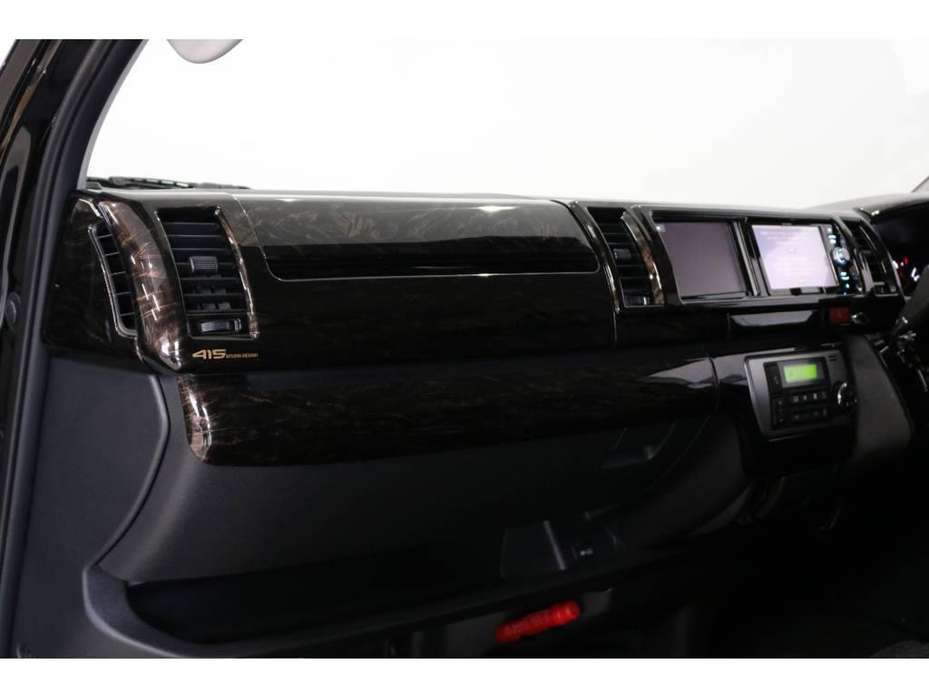 415COBRAマホガニーパネル&コンビハンドルSET装着済み♪ | トヨタ ハイエース 2.7 GL ロング ミドルルーフ 4WD 床張り