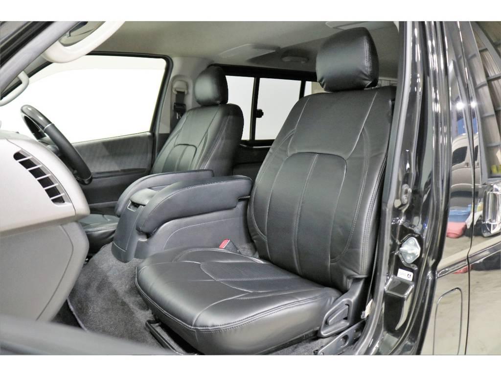 ブラックシートカバーを新品で装着して高級感を演出しています。 | トヨタ ハイエースバン 3.0 スーパーGL ロング ディーゼルターボ