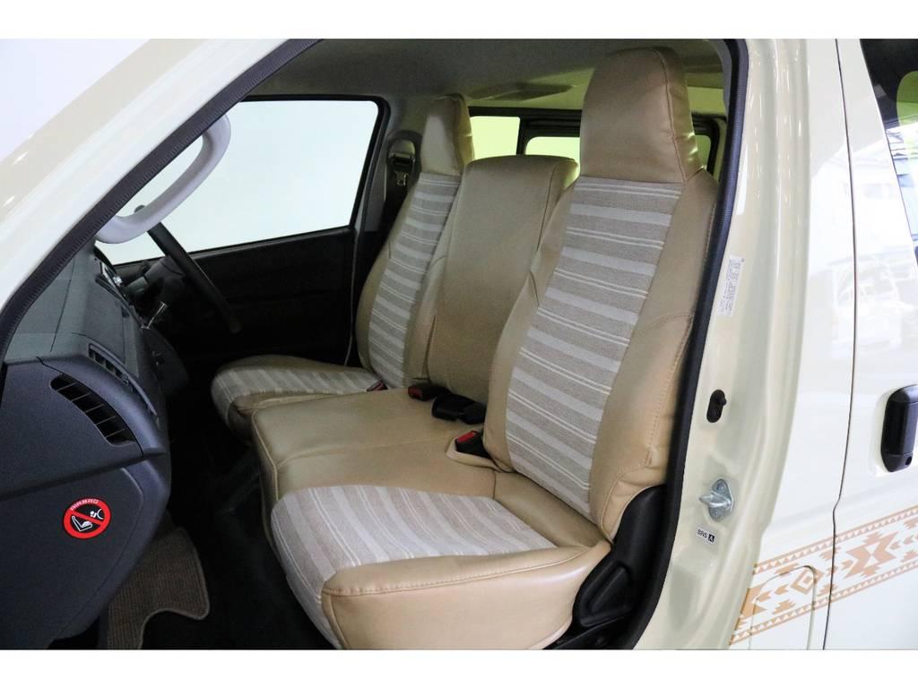 DXバンように型取りからした特注シートカバーはフィッティング抜群で、デザインもかわいらしいです! | トヨタ ハイエースバン 2.0 DX ロング お洒落なハイエースV