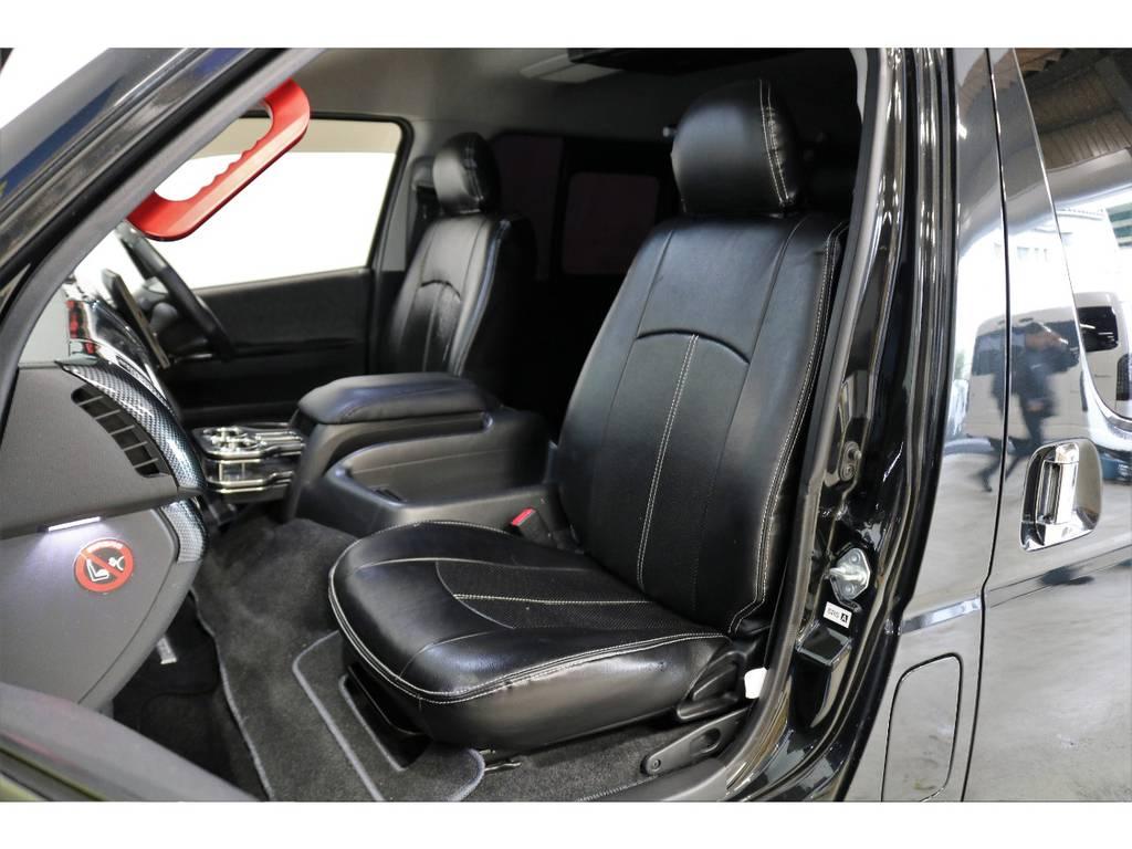 ブラックレザーのシートカバー全席装着済み! | トヨタ ハイエース 2.7 GL ロング ミドルルーフ