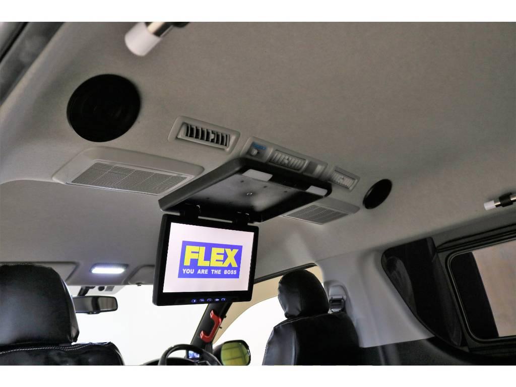 超大型フリップダウンモニター+ルーフスピーカー装着済みなので後部座席のどの位置でもよく見えます!!! | トヨタ ハイエース 2.7 GL ロング ミドルルーフ