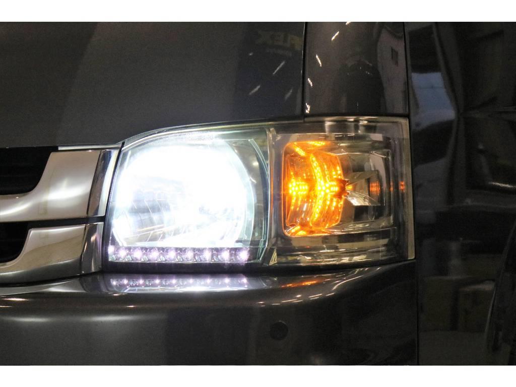 社外ヘッドライト装着済み!LEDデイライト付き♪ | トヨタ ハイエースバン 3.0 スーパーGL ワイド ロング ミドルルーフ ディーゼルターボ