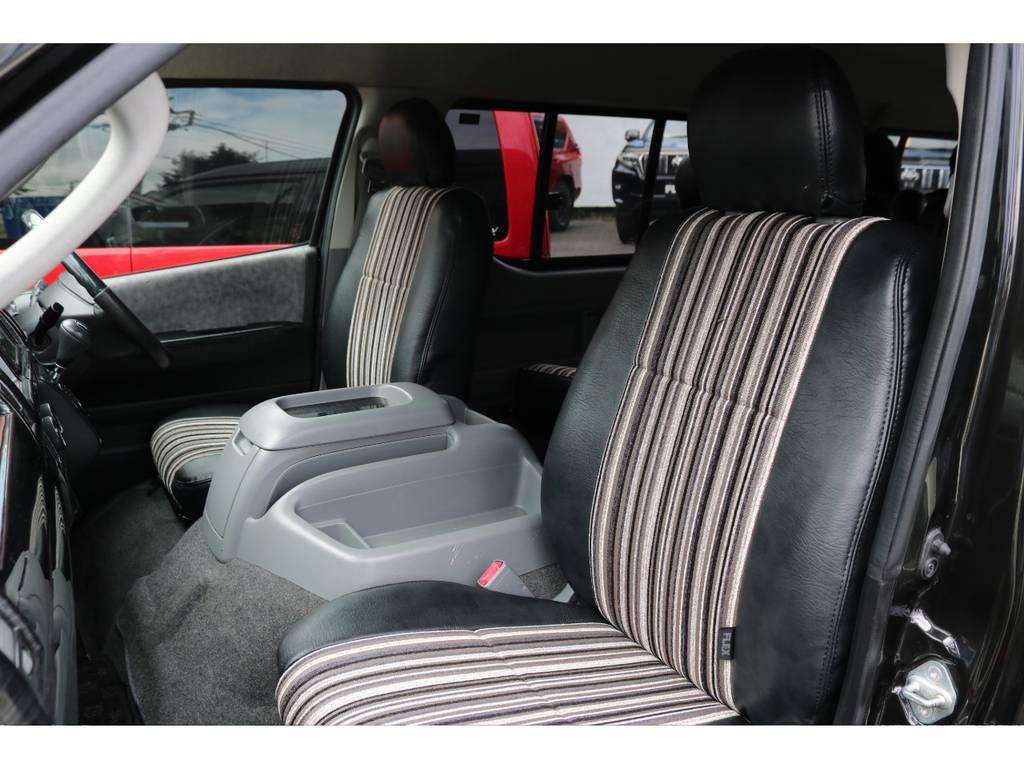 新品のブラックレザーファブリックコンビのシートカバーを取り取付けました!Renocaは内装もシャレオツです! | トヨタ ハイエース 2.7 GL ロング ミドルルーフ