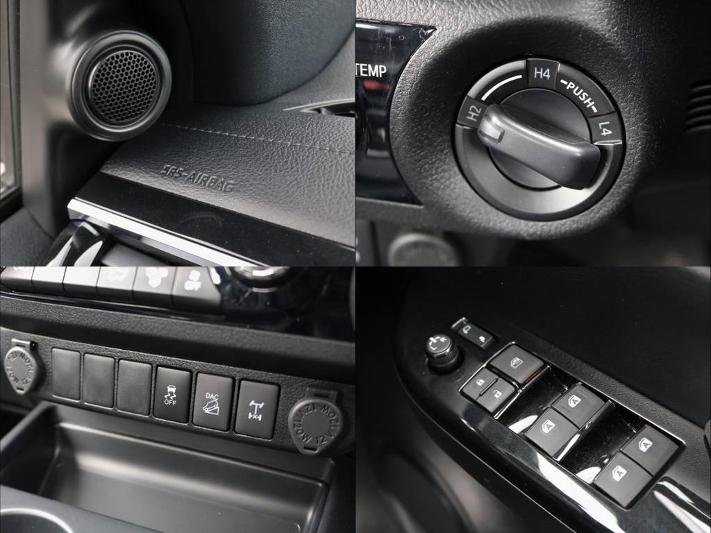 ルオートエアコンにスマートキー&プッシュスタートシステム、クルーズコントロール、プリクラッシュセーフティなど、乗用車譲りの快適&安心装備が多数ございます。しかも全て標準装備!! | トヨタ ハイラックス 2.4 Z ブラック ラリー エディション ディーゼルターボ 4WD TRDカスタムトラック