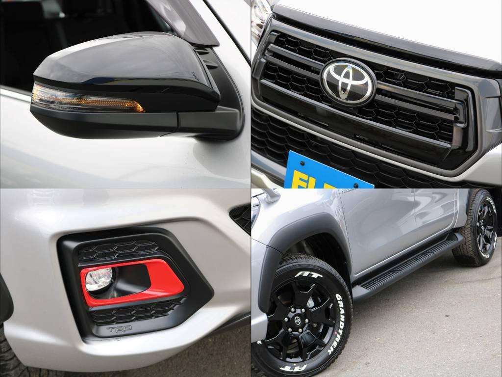 各種パーツもカッコよく、自分なりにカスタムするのもいですね♪ | トヨタ ハイラックス 2.4 Z ブラック ラリー エディション ディーゼルターボ 4WD TRDカスタムトラック