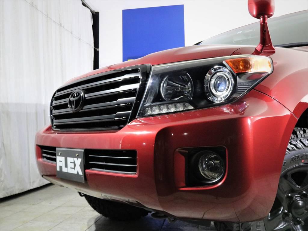 ヘッドライトインナーブラック塗装、フロントグリルは艶有黒と艶無し黒で細部まで塗り分け。フォグランプ廻りはマッドブラックで。