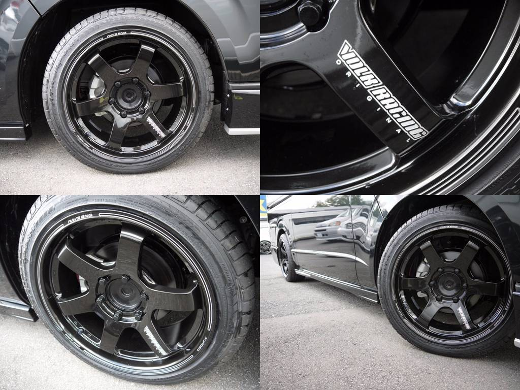 足元には、RAYSヴォルクレーシング【TE37-SB】18AWをインストール!メイドインジャパンの鍛造ホイール! | トヨタ ハイエースバン 2.0 スーパーGL ダークプライム ロングボディ S-STYLE