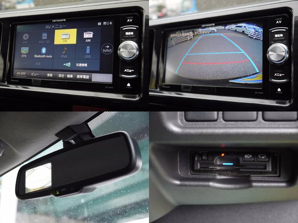 カロッツェリアメモリーナビ・ETC・バックカメラナビ連動!嬉しい装備が満載です。ご希望に応じてフリップダウンモニターのお取り付も喜んで承ります。各種カスタムお気軽にお問い合わせください。 | トヨタ ハイエース 2.7 GL ロング ミドルルーフ 4WD 4WD Ver1