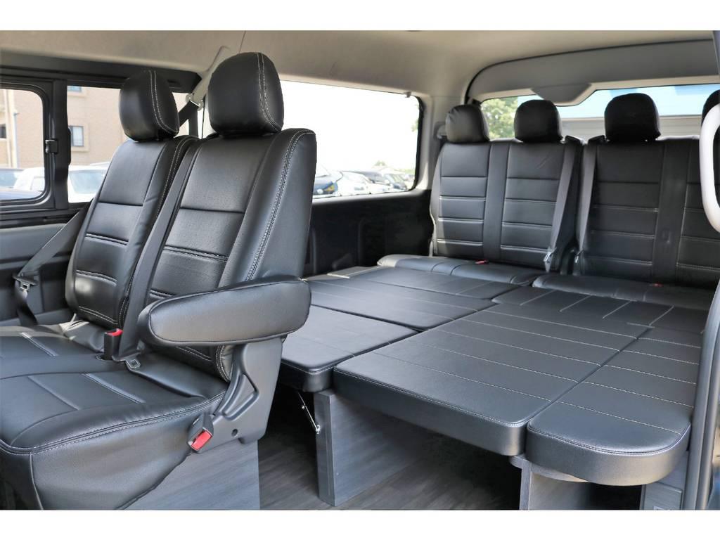 ブラックレザー調シートカバー!見た目にも高級感があり汚れにも強くお手入れも楽々です。 | トヨタ ハイエース 2.7 GL ロング ミドルルーフ 4WD 4WD Ver1