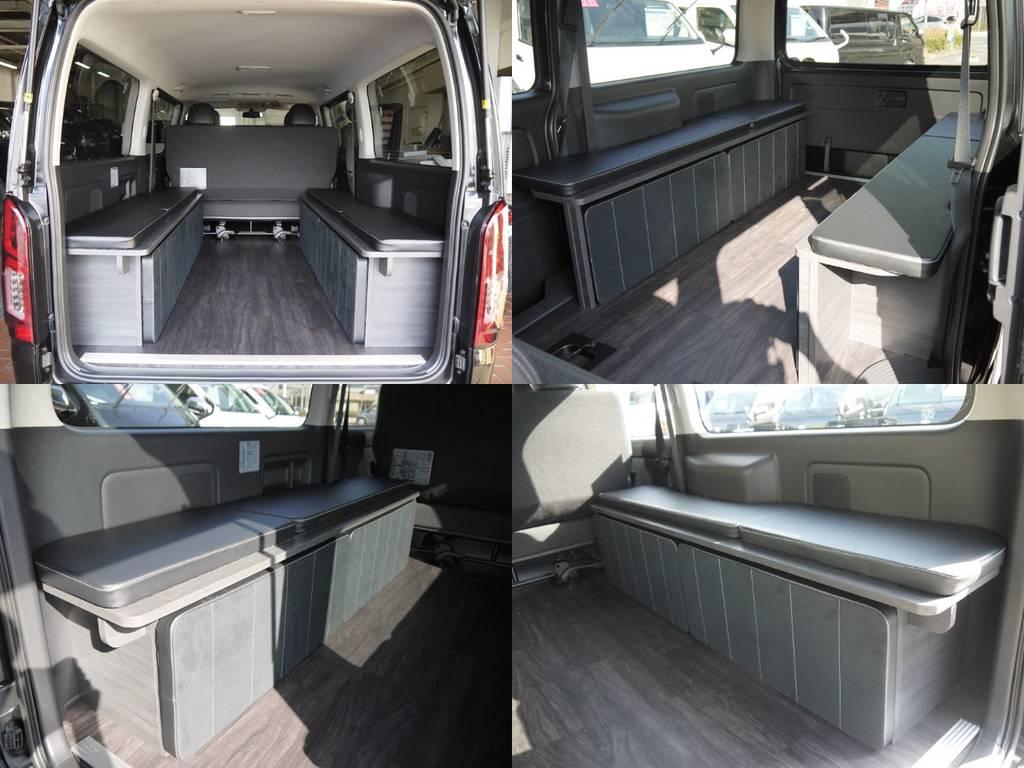 ベッドマットは家具側面に収納できます! | トヨタ ハイエースバン 3.0 スーパーGL  ダークプライム ロングボディ ディーゼルターボ Ver4DP