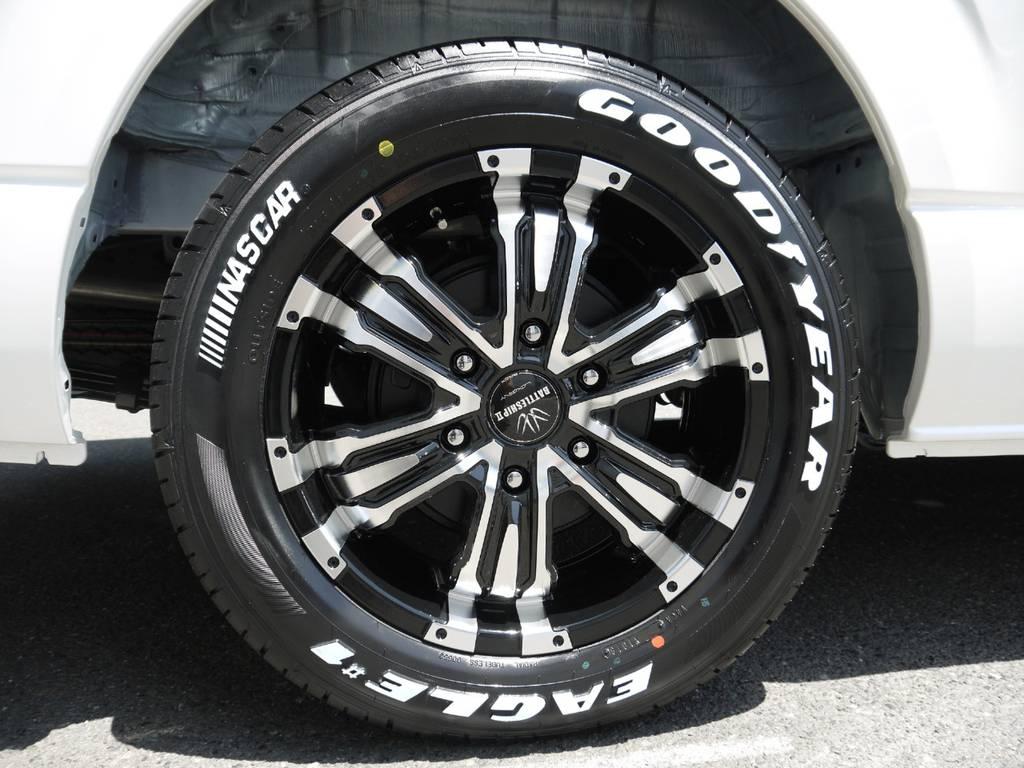バトルシップⅡ17インチAW&グッドイヤーナスカーホワイトレタータイヤ! | トヨタ ハイエース 2.7 GL ロング ミドルルーフ ラウンジ5α