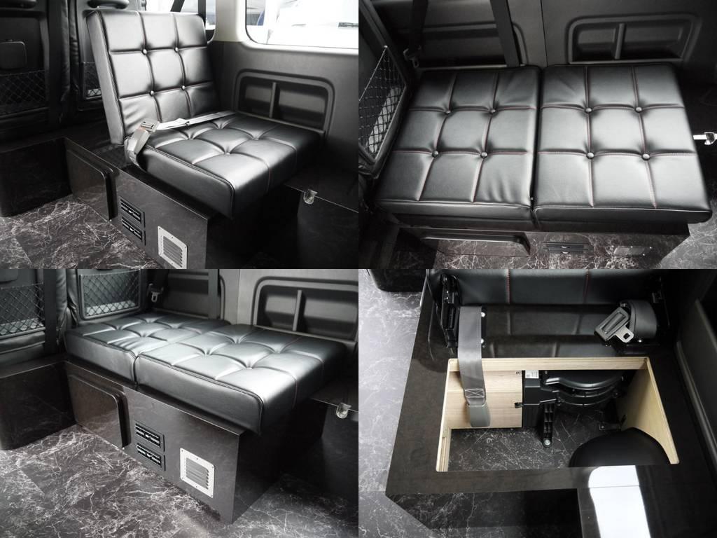 ベッドモード:付属のマットを使用してどなたでも簡単に広大なベッドスペースに転回可能です。車中泊もお楽しみいただけます。 | トヨタ ハイエース 2.7 GL ロング ミドルルーフ ラウンジ5α