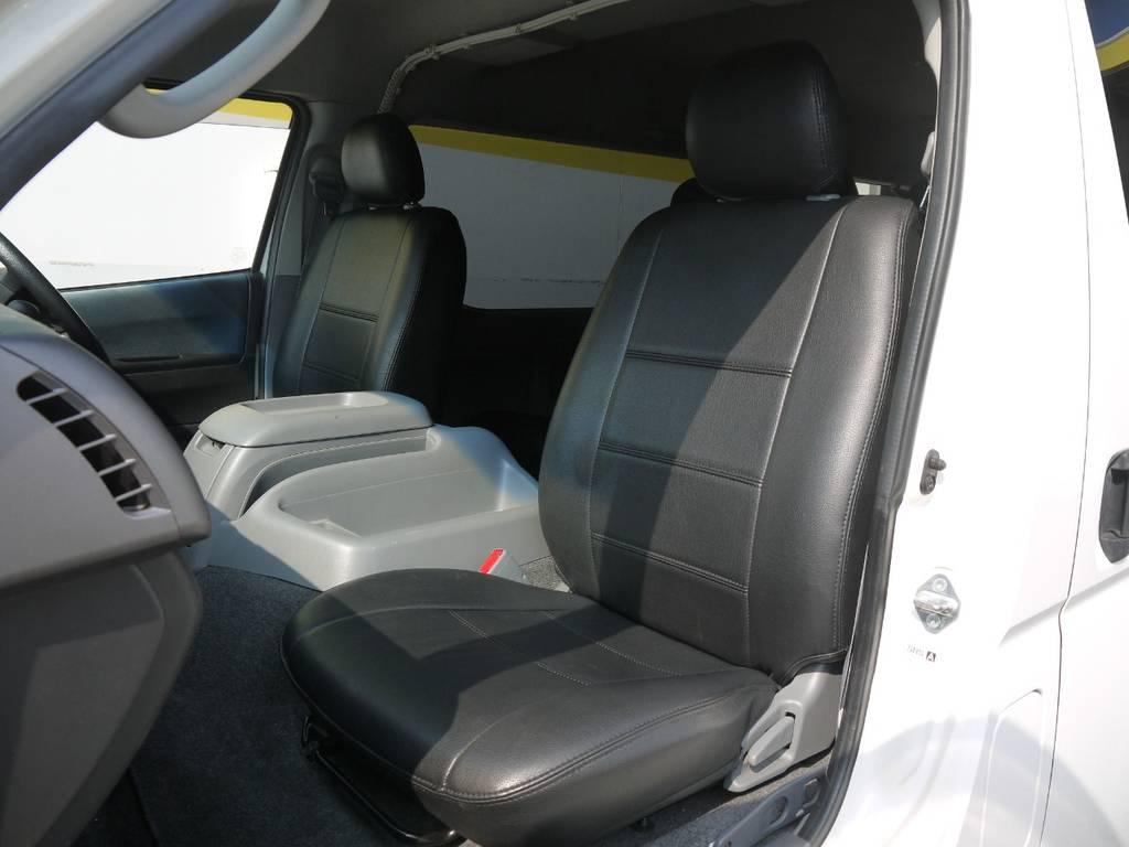 ブラックレザー調シートカバー!見た目にも高級感があり汚れにも強くお手入れも楽々です。 | トヨタ ハイエース 2.7 GL ロング ミドルルーフ