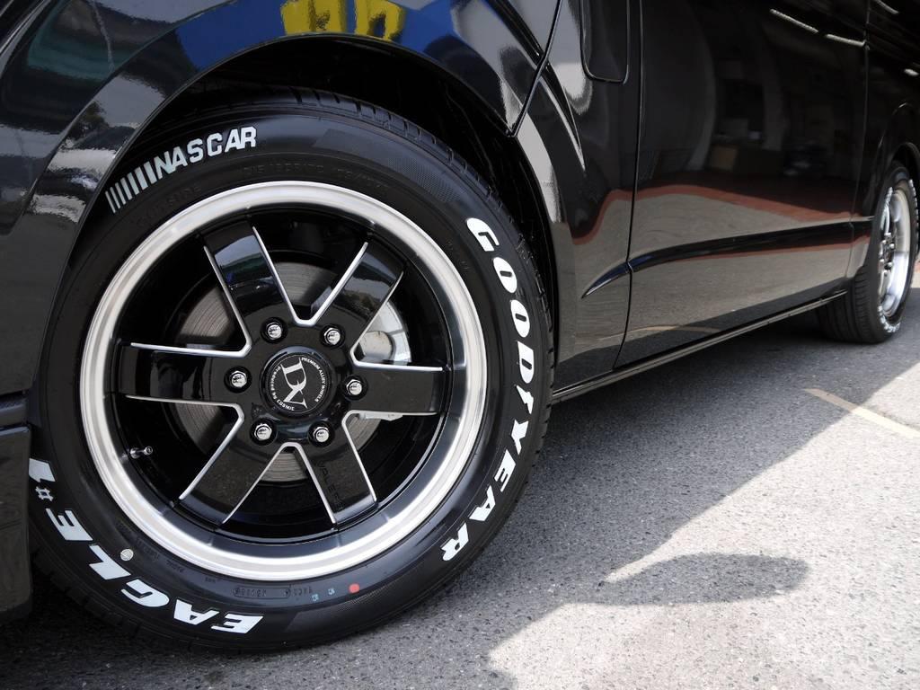 バレリオ17inchAW&グッドイヤーナスカーホワイトレタータイヤ! | トヨタ ハイエースバン 2.0 スーパーGL ダークプライムⅡ ロングボディ 2段ベッドPKG
