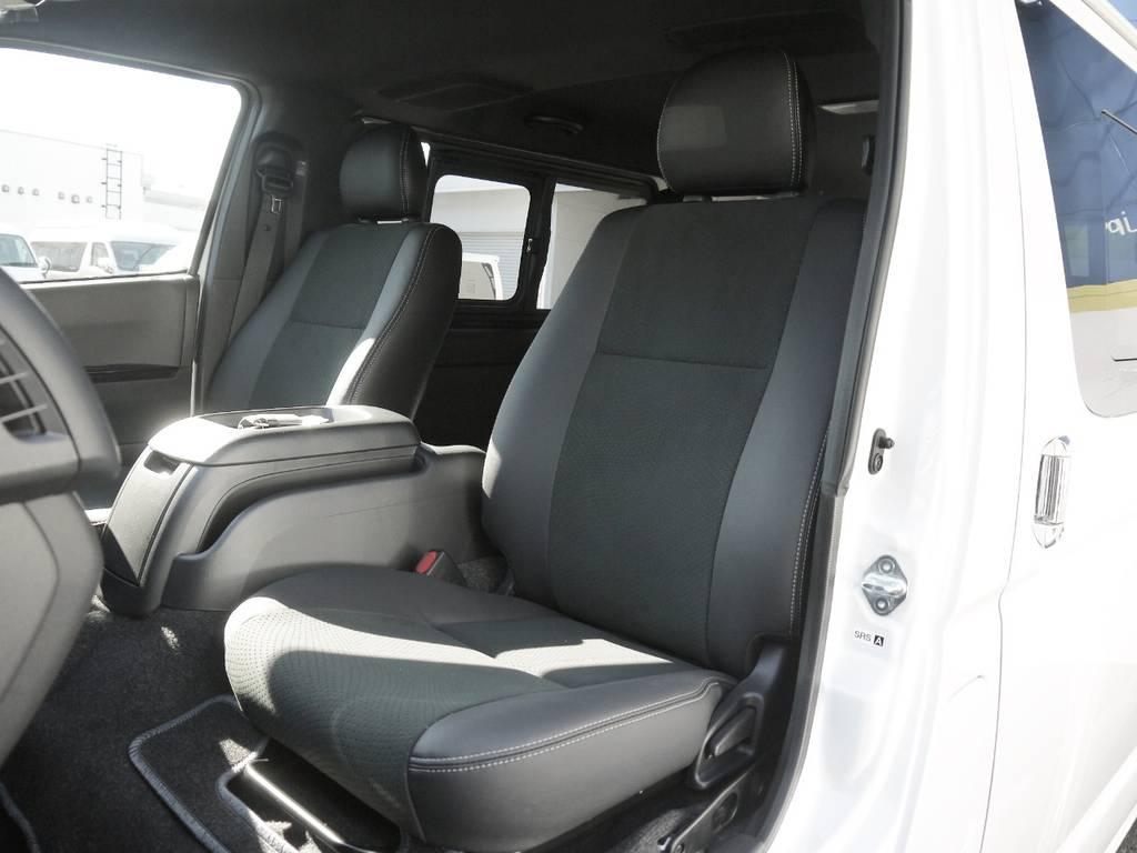 特別仕様車専用装備:ハーフレザーシート完備!高級感のあるコックピットを演出。   トヨタ ハイエースバン 2.0 スーパーGL ダークプライムⅡ ロングボディ GIBSONエアロ