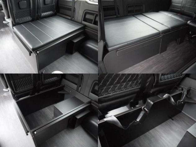 純正3rdシートポジションに後向き座席家具を配置。家具内にはベッドマットの収納が可能です。 | トヨタ ハイエース 2.7 GL ロング ミドルルーフ 4WD TSS付 R1