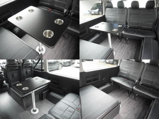 センターテーブルも標準装備。テーブルは天板とポールの着脱も可能です。 | トヨタ ハイエース 2.7 GL ロング ミドルルーフ 4WD TSS付 R1