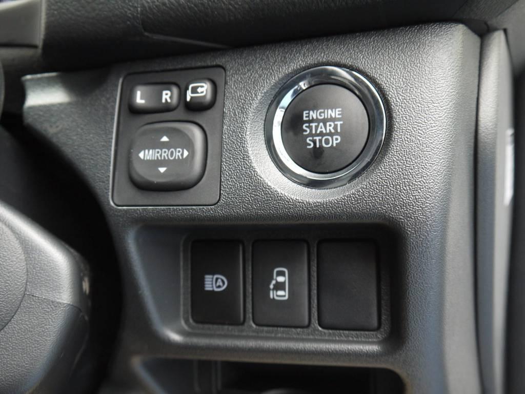 メーカーオプションのプッシュスタート&スマートエントリー・パワースライドドアも完備! | トヨタ ハイエース 2.7 GL ロング ミドルルーフ 4WD TSS付 R1