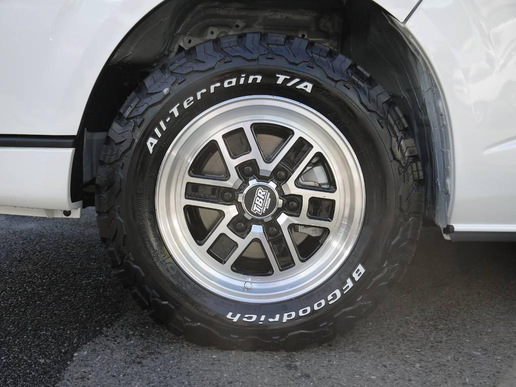 足元には、レイズTBR16インチAW&グッドリッチオールテレーンタイヤをインストール! | トヨタ ハイエース 2.7 GL ロング ミドルルーフ 4WD TSS付 R1