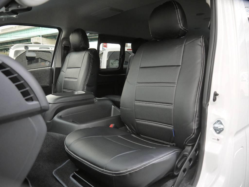 ブラックレザー調シートカバー全席装着!高級感のあるコックピットを演出。 | トヨタ ハイエース 2.7 GL ロング ミドルルーフ 4WD TSS付 R1