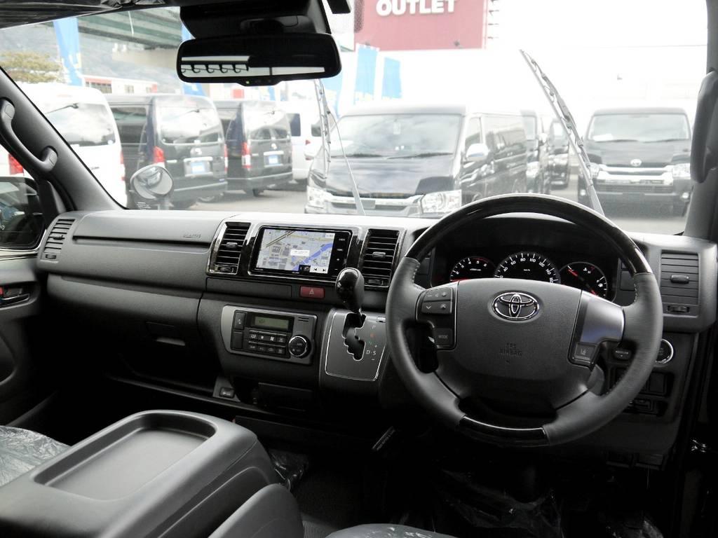 特別仕様車専用装備:マホガニー調コンビハンドル&シフトノブ! | トヨタ ハイエースバン 2.0 スーパーGL ダークプライムⅡ ロングボディ JOBACE