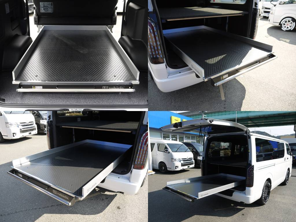 ユーアイビークルスライドフロア:1400mmスライド&4段階固定が可能です!最大積載300㎏!重量物にも対応!スライドフロア装着にて公認取得致します。 | トヨタ ハイエースバン 2.0 スーパーGL ダークプライムⅡ ロングボディ JOBACE