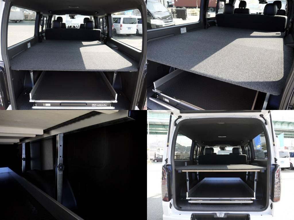 ビジネスシーンで手軽に使えるバリューベッドキット!荷物の積み分けや荷物に応じて高さも5段階調整OK!ベッド下最大有効610mm! | トヨタ ハイエースバン 2.0 スーパーGL ダークプライムⅡ ロングボディ JOBACE