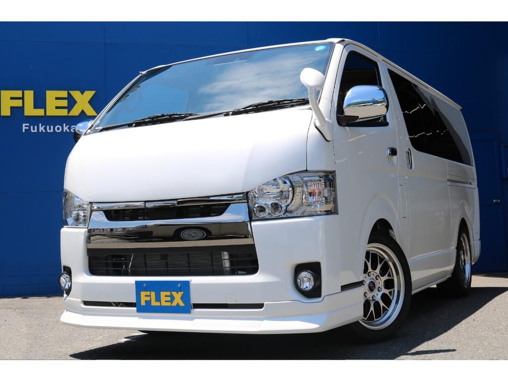 FLEXオリジナル【DelfinoLineフロントリップスポイラー】装着!引き締まったフロントフェイスを演出。