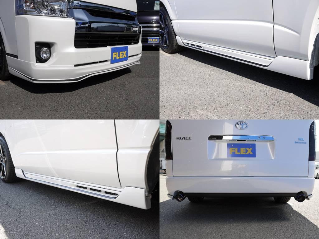 415COBRAフルエアロ!タイプRフロントリップ・コンセプト2サイドステップ・ステージ1リアバンパー! | トヨタ ハイエース 2.7 GL ロング ファインテックツアラー COBRAコンプリート