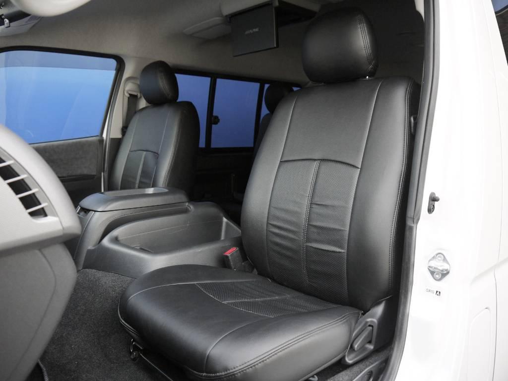 ブラックレザー調シートカバー! | トヨタ ハイエース 2.7 GL ロング ミドルルーフ BIGX8インチナビ