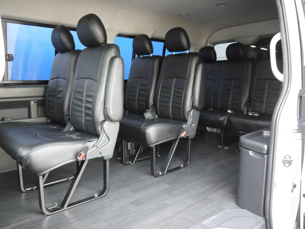 乗り降りのし易いシート配列!送迎等でのご利用にもオススメです。 | トヨタ ハイエース 2.7 GL ロング ミドルルーフ BIGX8インチナビ