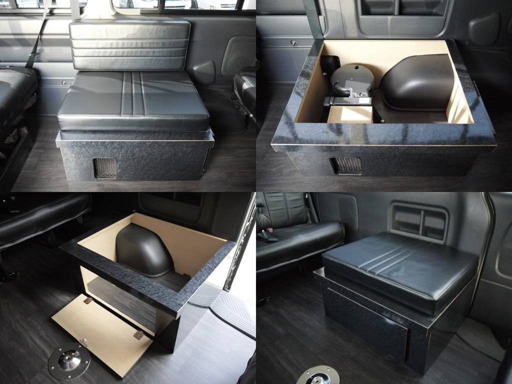 3rdシートは横座り1名定員の座席家具を左右に配置。家具内は収納スペースとしてご利用いただけます。