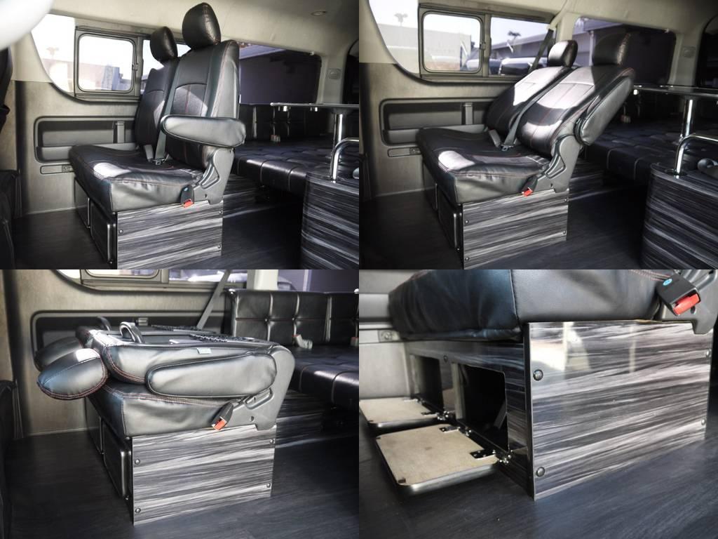 セカンドシートはリクライニング加工済み!シート足元には収納家具を完備!