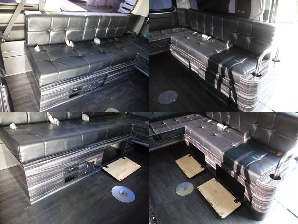 横座りシート家具内は収納スペースとしてご利用いただけます。