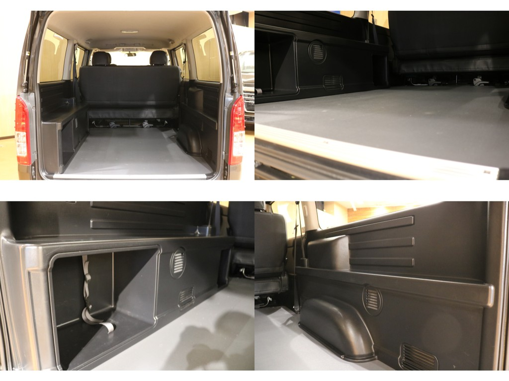 【高額オプションMRT(特別内装)仕様】重歩行用フローリング施工・ポリタンク収納・ベッドキット追加可能な専用トリム。