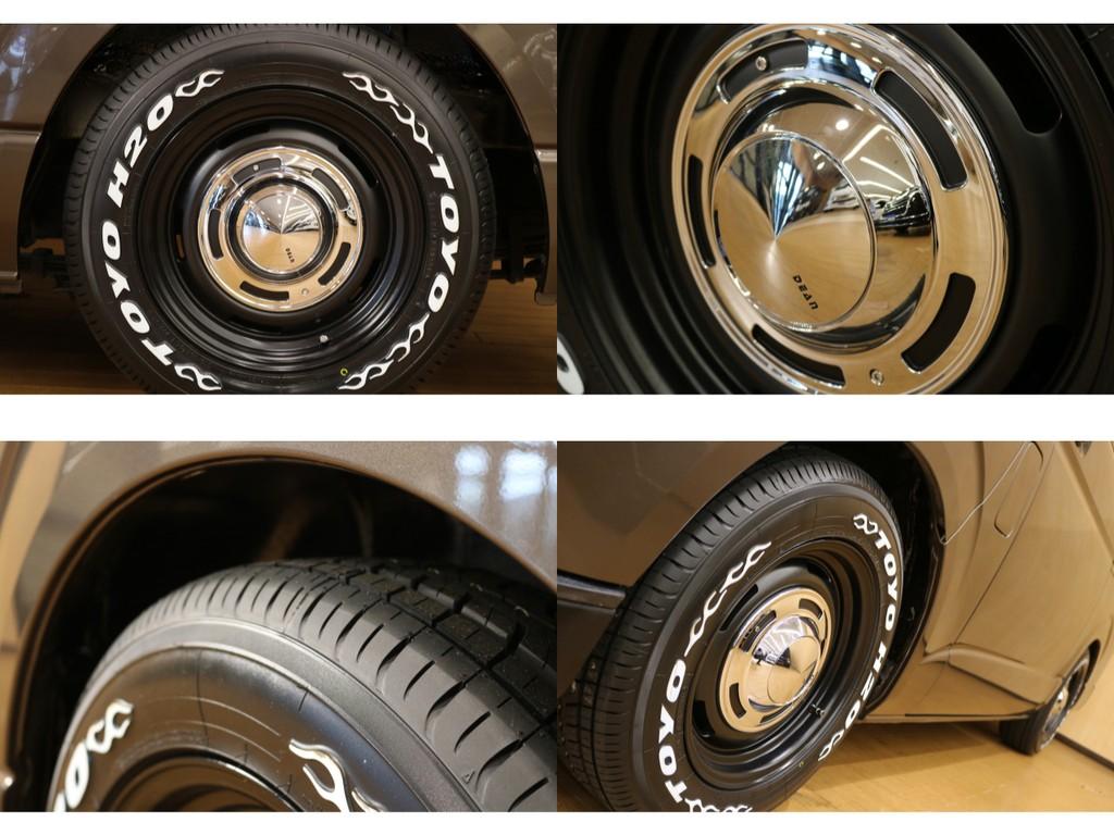 【タイヤ&アルミ詳細】クリムソン製新品16インチアルミホイール&タイヤ交換済。※加重指数クリア・車検対応。