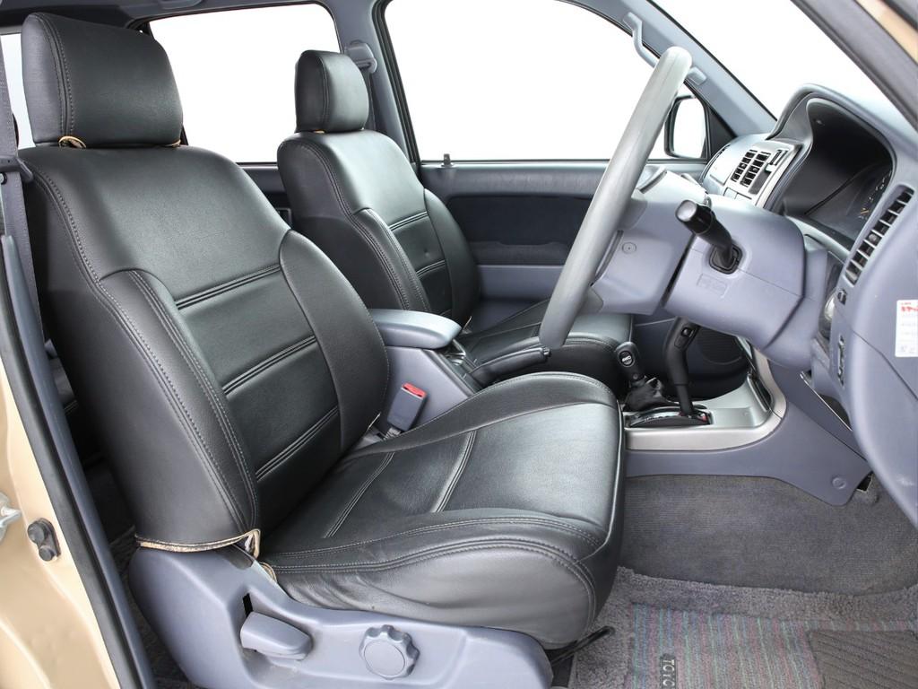 全席に黒革調のシートカバーを装着!破れも無くまだまだ使えます!