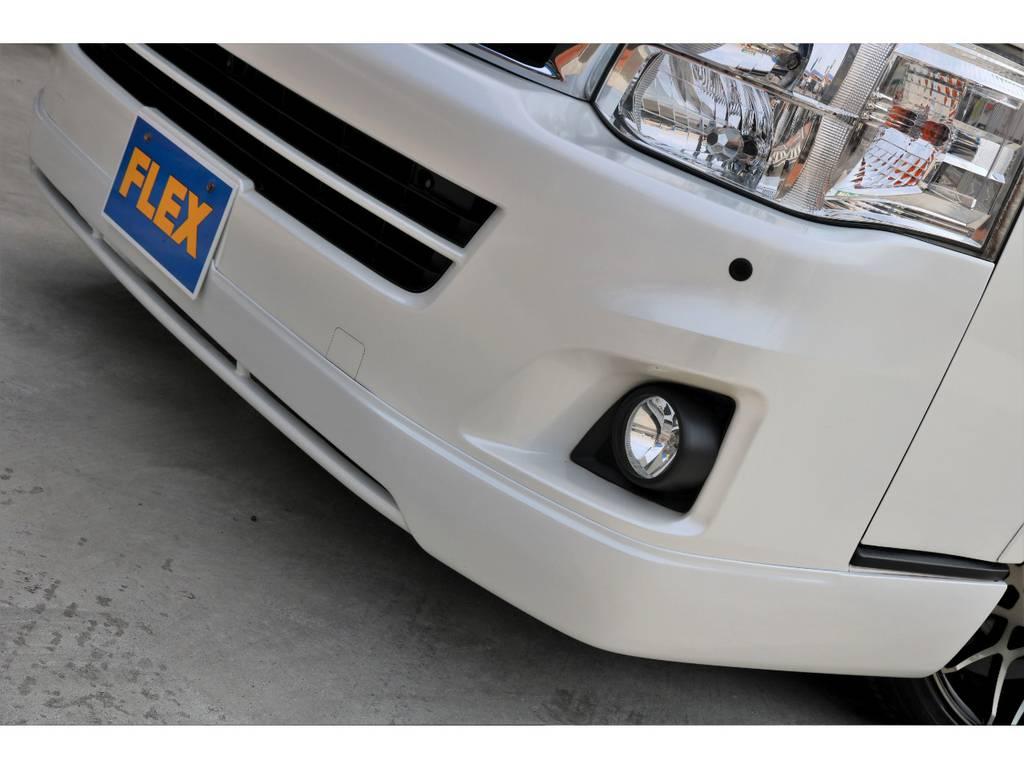 オリジナル フロントスポイラーを装着!! | トヨタ レジアスエース 3.0 スーパーGL プライムセレクション ワイド ミドルルーフ ロング ディーゼルターボ