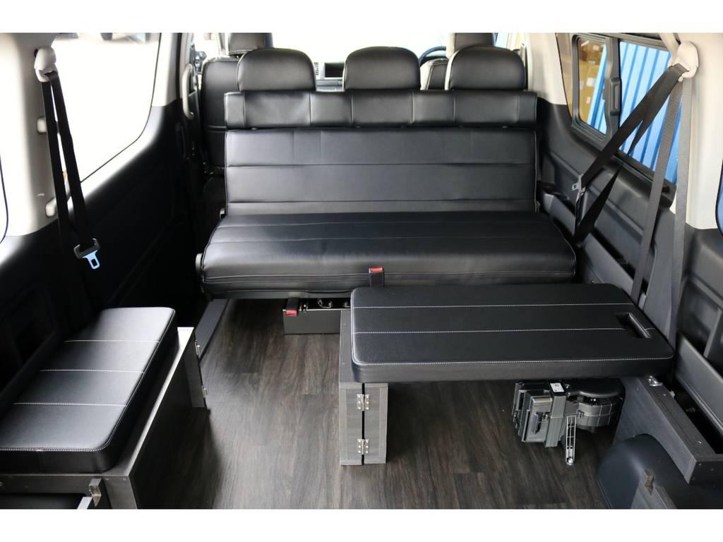 リアスペースは、センターマットやセンターテーブルを用途に応じて脱着可能です! | トヨタ ハイエース 2.7 GL ロング ミドルルーフ 4WD TSS付 Ver2