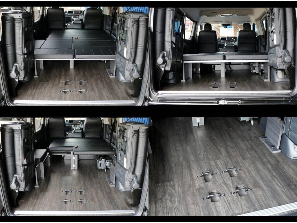 最後列シートを跳ね上げれば荷物もたっぷり積めちゃいます!重歩行用フロア施工で防音効果やお手入れも楽々です! | トヨタ ハイエース 2.7 GL ロング ミドルルーフ 4WD TSS付 Ver2
