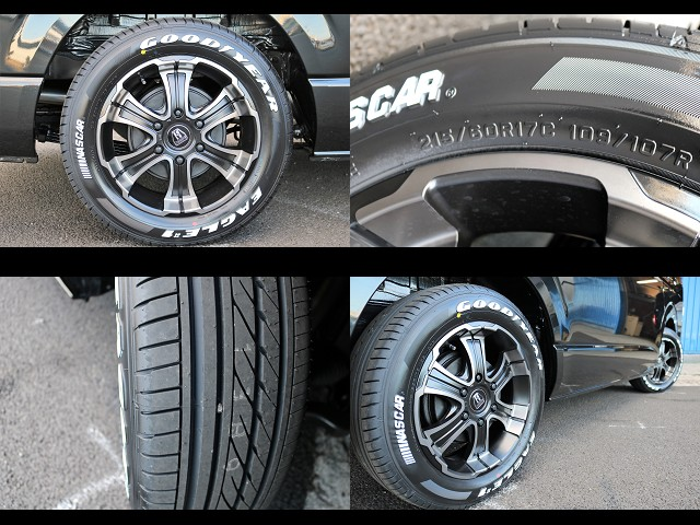 FLEXオリジナルカラーのバルベルワイルドディープス17インチアルミホイール!グッドイヤーナスカータイヤ!   トヨタ ハイエース 2.7 GL ロング ミドルルーフ 4WD TSS付 Ver2