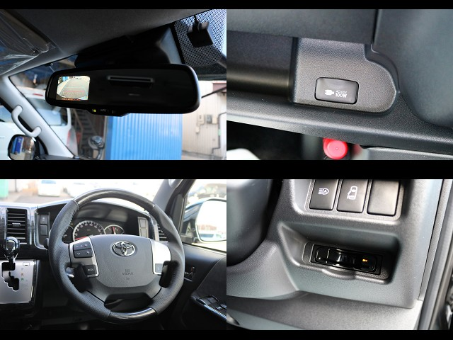 メーカーオプションのバックカメラ/モニター内蔵自動防眩ミラーやステアリングスイッチ、パワースライドドアも付いてます!標準装備のAC100V電源! | トヨタ ハイエース 2.7 GL ロング ミドルルーフ 4WD TSS付 Ver2